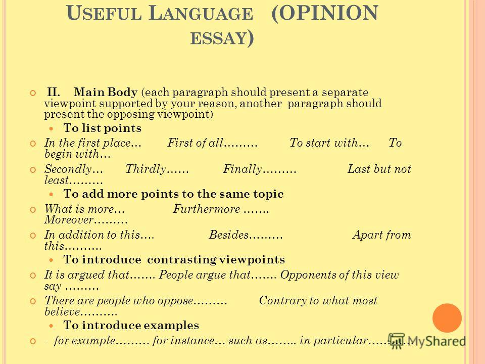 U SEFUL L ANGUAGE (OPINION ESSAY ) II. Main Body (each paragraph should present a separate viewpoint supported by your reason, another paragraph should present the opposing viewpoint) To list points In the first place… First of all……… To start with…