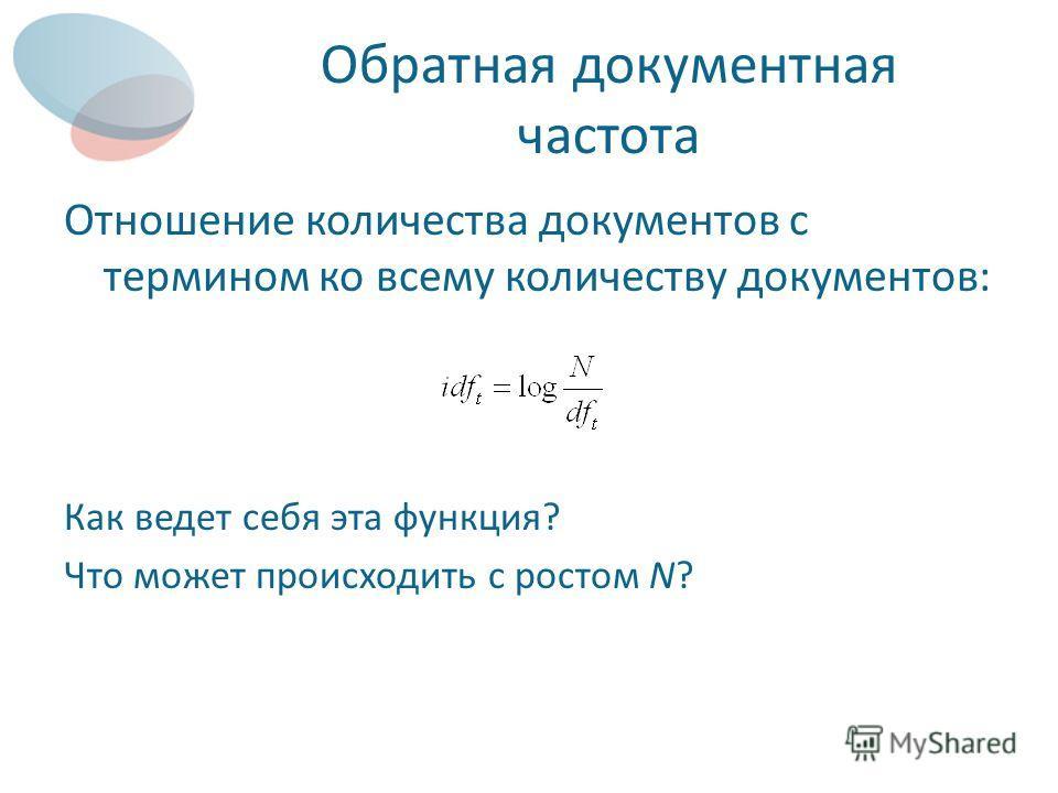 Обратная документная частота Отношение количества документов с термином ко всему количеству документов: Как ведет себя эта функция? Что может происходить с ростом N?
