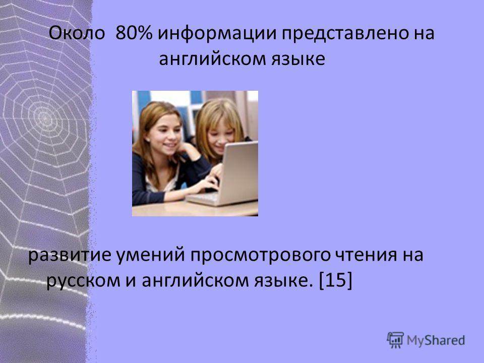 Около 80% информации представлено на английском языке развитие умений просмотрового чтения на русском и английском языке. [15]