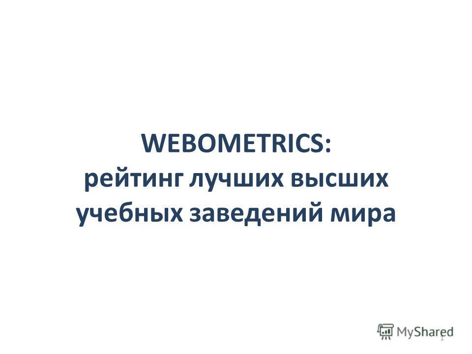 WEBOMETRICS: рейтинг лучших высших учебных заведений мира 1