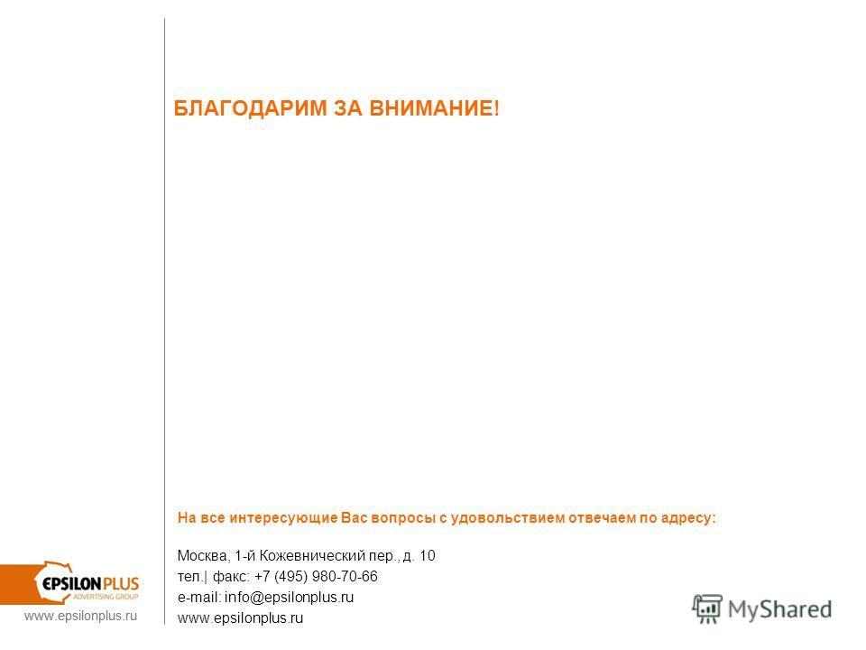 www.epsilonplus.ru БЛАГОДАРИМ ЗА ВНИМАНИЕ! На все интересующие Вас вопросы с удовольствием отвечаем по адресу: Москва, 1-й Кожевнический пер., д. 10 тел.| факс: +7 (495) 980-70-66 e-mail: info@epsilonplus.ru www.epsilonplus.ru