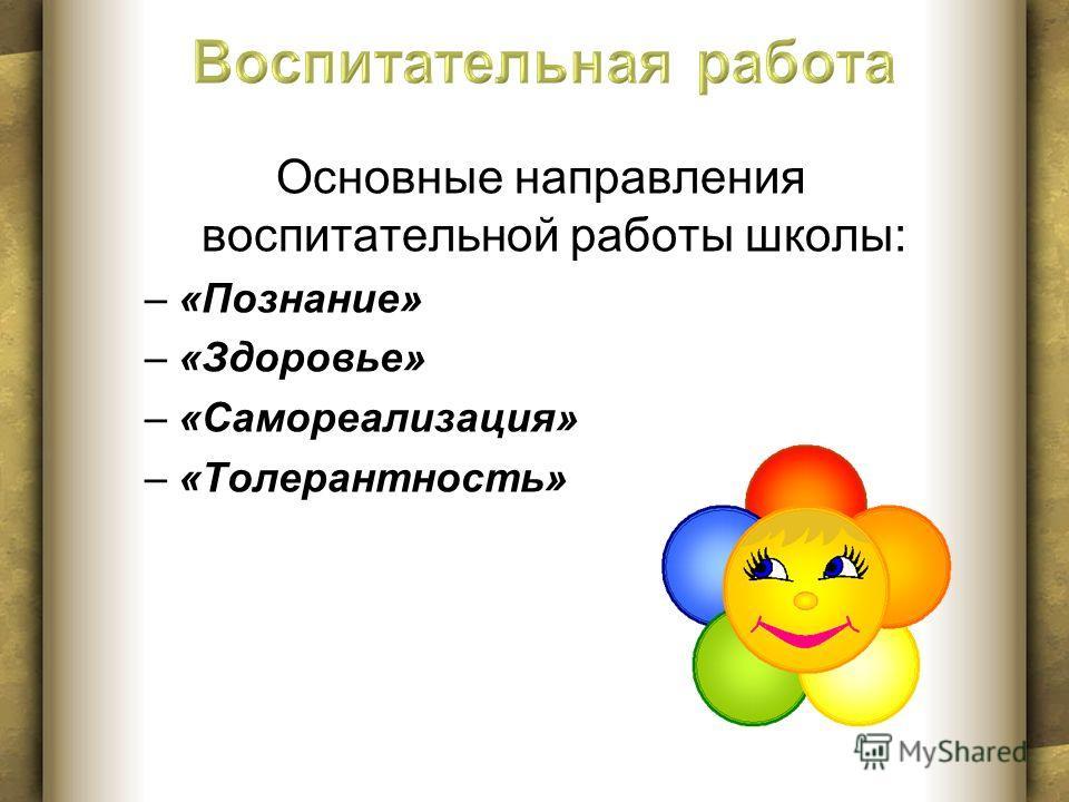 Основные направления воспитательной работы школы: –«Познание» –«Здоровье» –«Самореализация» –«Толерантность»