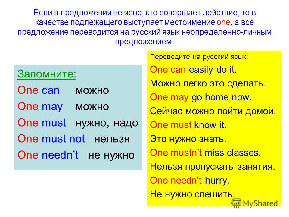 Если в предложении не ясно, кто совершает действие, то в качестве подлежащего выступает местоимение one, а все предложение переводится на русский язык неопределенно-личным предложением. Запомните: One can можно One may можно One must нужно, надо One