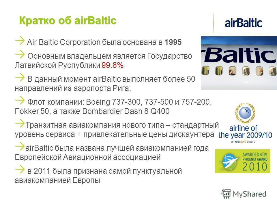 Кратко об airBaltic Air Baltic Corporation была основана в 1995 Основным владельцем является Государство Латвийской Руспублики 99.8% В данный момент airBaltic выполняет более 50 направлений из аэропорта Рига; Флот компании: Boeing 737-300, 737-500 и