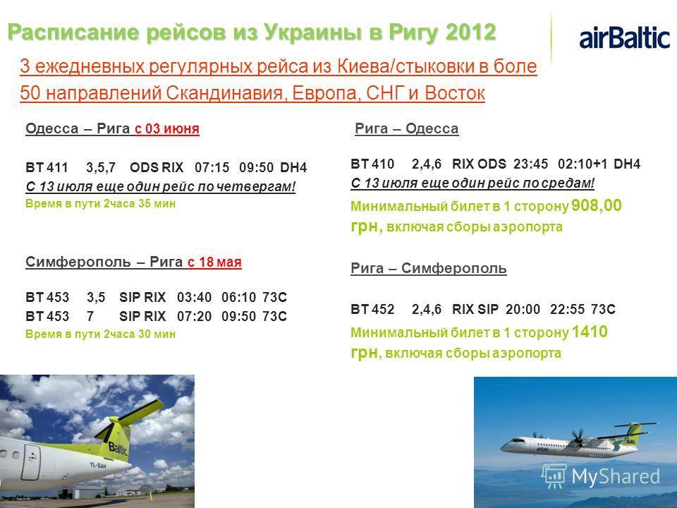 Расписание рейсов из Украины в Ригу 2012 3 ежедневных регулярных рейса из Киева/стыковки в боле 50 направлений Скандинавия, Европа, СНГ и Восток Одесса – Рига с 03 июня BT 411 3,5,7 ODS RIX 07:15 09:50 DH4 С 13 июля еще один рейс по четвергам! Время