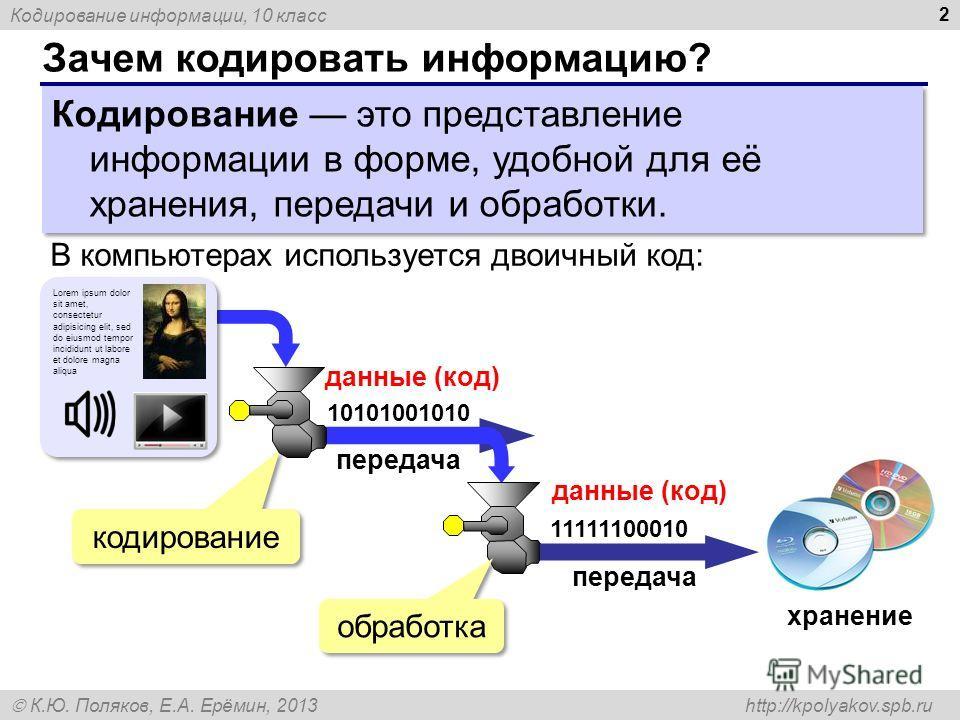 Кодирование информации, 10 класс К.Ю. Поляков, Е.А. Ерёмин, 2013 http://kpolyakov.spb.ru Зачем кодировать информацию? 2 Кодирование это представление информации в форме, удобной для её хранения, передачи и обработки. В компьютерах используется двоичн