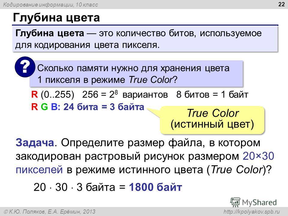Кодирование информации, 10 класс К.Ю. Поляков, Е.А. Ерёмин, 2013 http://kpolyakov.spb.ru Глубина цвета 22 Сколько памяти нужно для хранения цвета 1 пикселя в режиме True Color? ? R G B: 24 бита = 3 байта R (0..255)256 = 2 8 вариантов8 битов = 1 байт