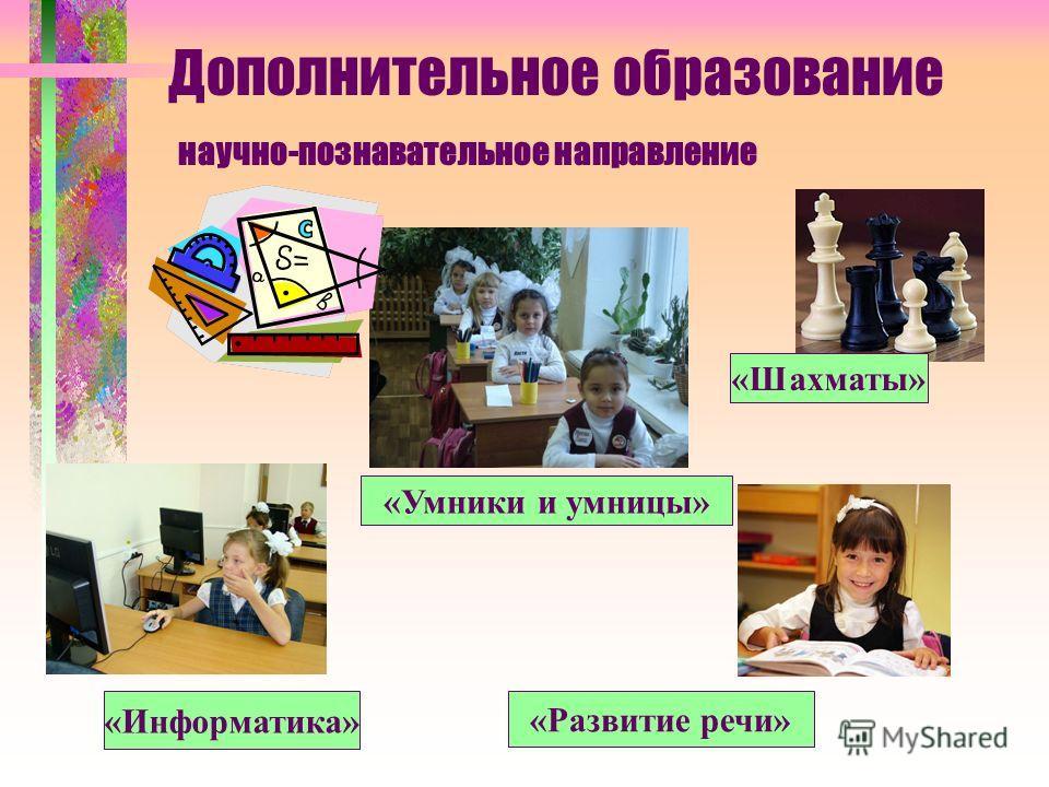 Дополнительное образование научно-познавательное направление «Информатика» «Шахматы» «Умники и умницы» «Развитие речи»