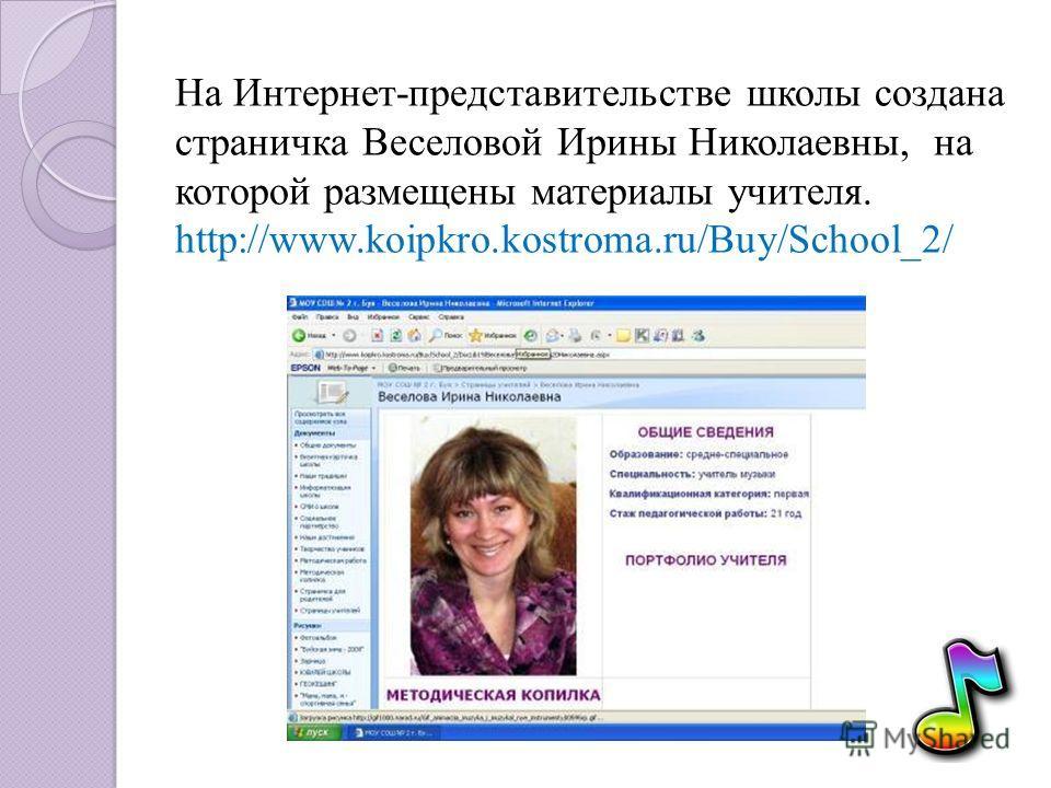 На Интернет-представительстве школы создана страничка Веселовой Ирины Николаевны, на которой размещены материалы учителя. http://www.koipkro.kostroma.ru/Buy/School_2/