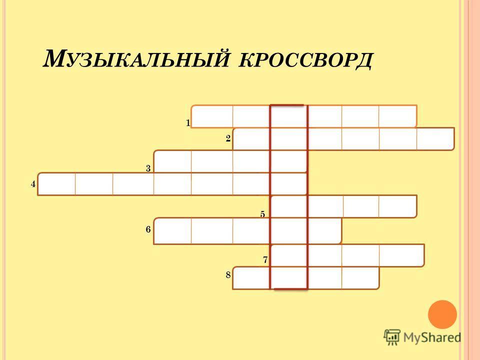 М УЗЫКАЛЬНЫЙ КРОССВОРД 1 2 3 4 5 6 7 8