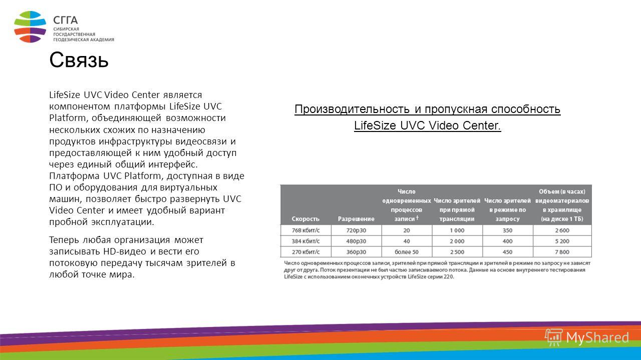 Связь LifeSize UVC Video Center является компонентом платформы LifeSize UVC Platform, объединяющей возможности нескольких схожих по назначению продуктов инфраструктуры видеосвязи и предоставляющей к ним удобный доступ через единый общий интерфейс. Пл