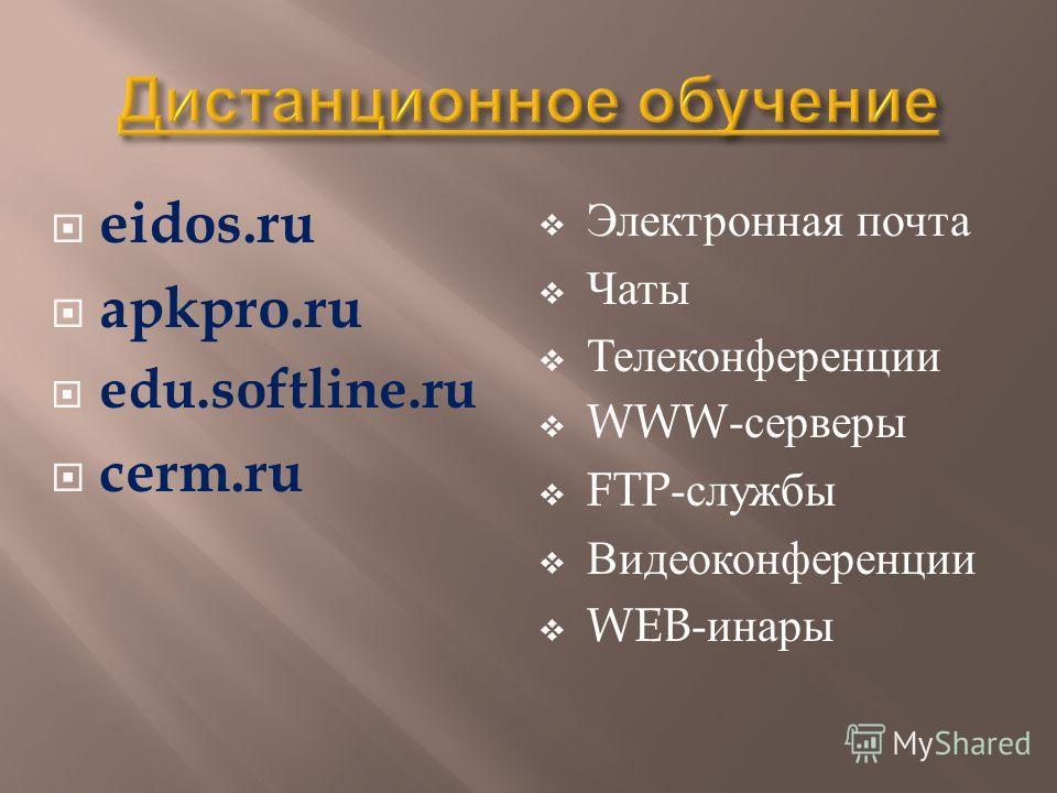 eidos.ru apkpro.ru edu.softline.ru cerm.ru Электронная почта Чаты Телеконференции WWW- серверы FTP- службы Видеоконференции WEB- инары