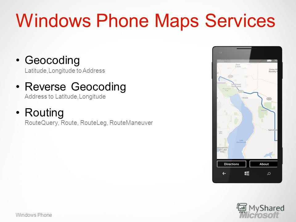 Windows Phone Windows Phone Maps Services