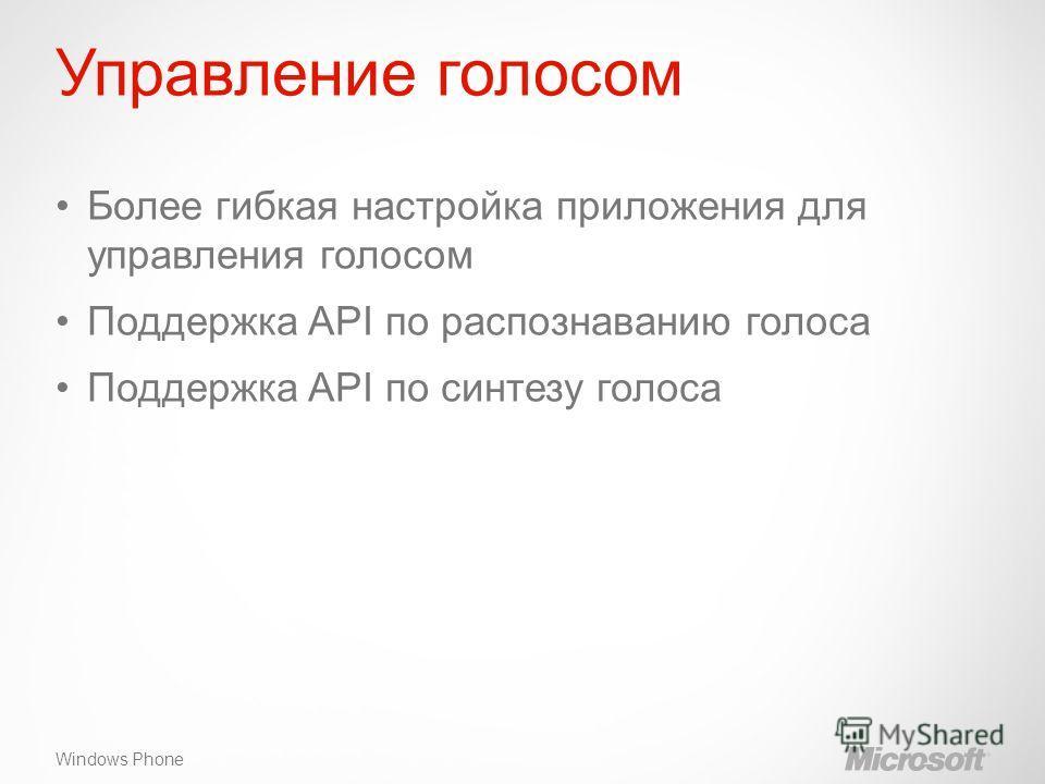 Windows Phone Управление голосом Более гибкая настройка приложения для управления голосом Поддержка API по распознаванию голоса Поддержка API по синтезу голоса