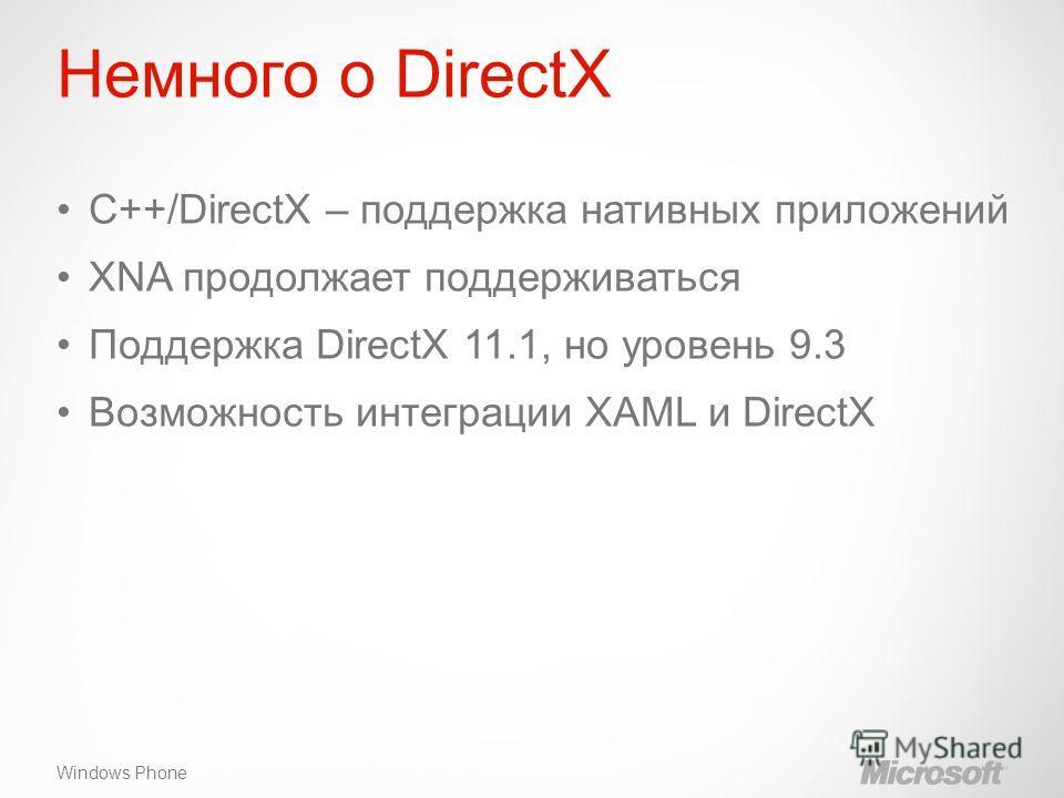 Windows Phone Немного о DirectX C++/DirectX – поддержка нативных приложений XNA продолжает поддерживаться Поддержка DirectX 11.1, но уровень 9.3 Возможность интеграции XAML и DirectX