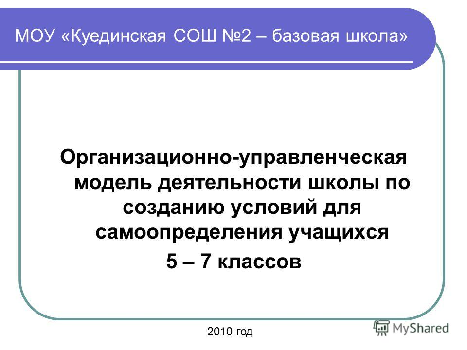 МОУ «Куединская СОШ 2 – базовая школа» Организационно-управленческая модель деятельности школы по созданию условий для самоопределения учащихся 5 – 7 классов 2010 год
