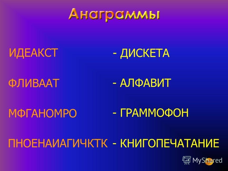 Меню ИДЕАКСТ ФЛИВААТ МФГАНОМРО - КНИГОПЕЧАТАНИЕПНОЕНАИАГИЧКТК - ДИСКЕТА - АЛФАВИТ - ГРАММОФОН