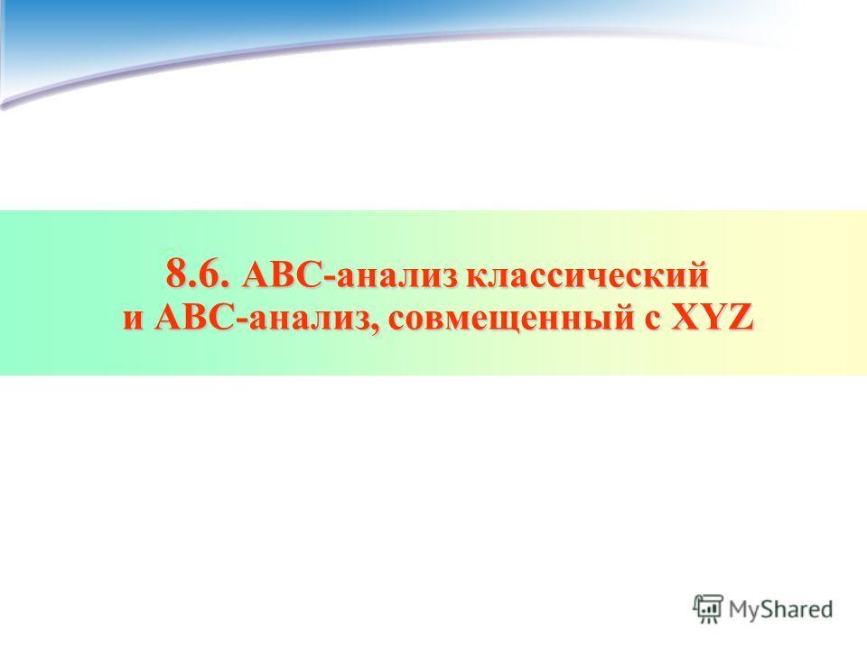 8.6. АВС-анализ классический и АВС-анализ, совмещенный с XYZ