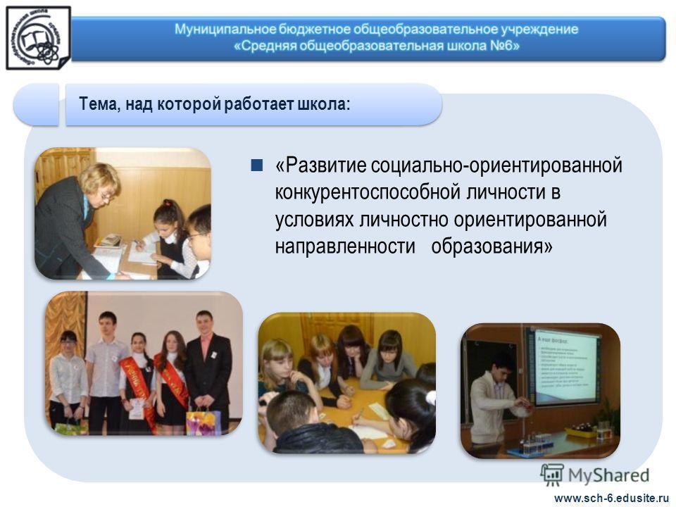 «Развитие социально-ориентированной конкурентоспособной личности в условиях личностно ориентированной направленности образования» www.sch-6.edusite.ru Тема, над которой работает школа: