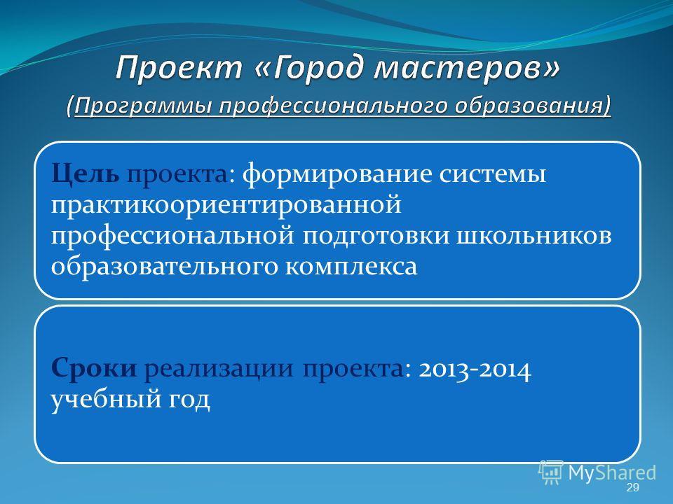 29 Цель проекта: формирование системы практикоориентированной профессиональной подготовки школьников образовательного комплекса Сроки реализации проекта: 2013-2014 учебный год
