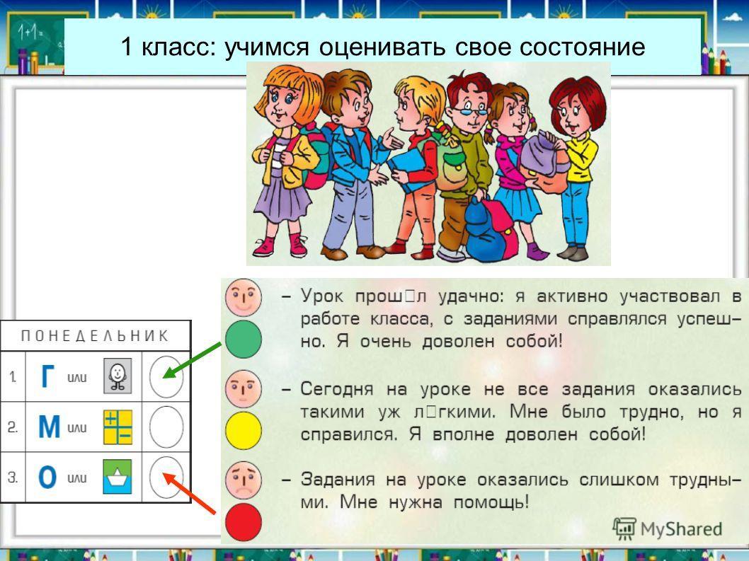 1 класс: учимся оценивать свое состояние