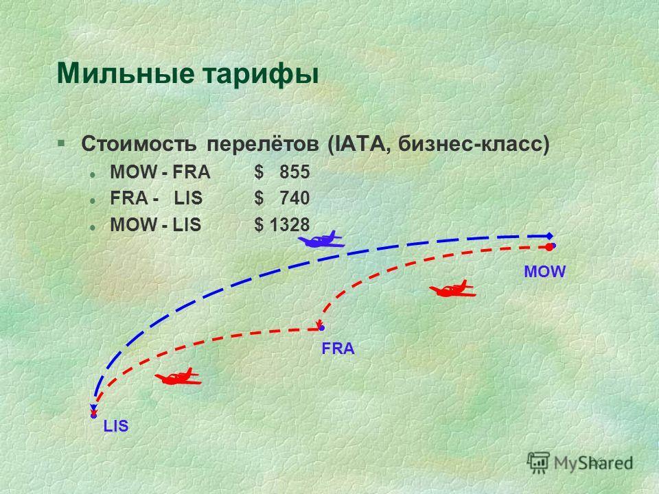 26 FRA MOW LIS Мильные тарифы §Стоимость перелётов (IATA, бизнес-класс) l MOW - FRA$ 855 l FRA - LIS $ 740 l MOW - LIS$ 1328