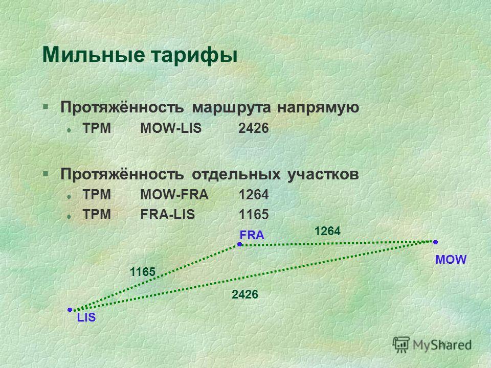 30 FRA MOW LIS Мильные тарифы §Протяжённость маршрута напрямую l TPMMOW-LIS2426 §Протяжённость отдельных участков l TPMMOW-FRA1264 l TPMFRA-LIS1165 2426 1264 1165