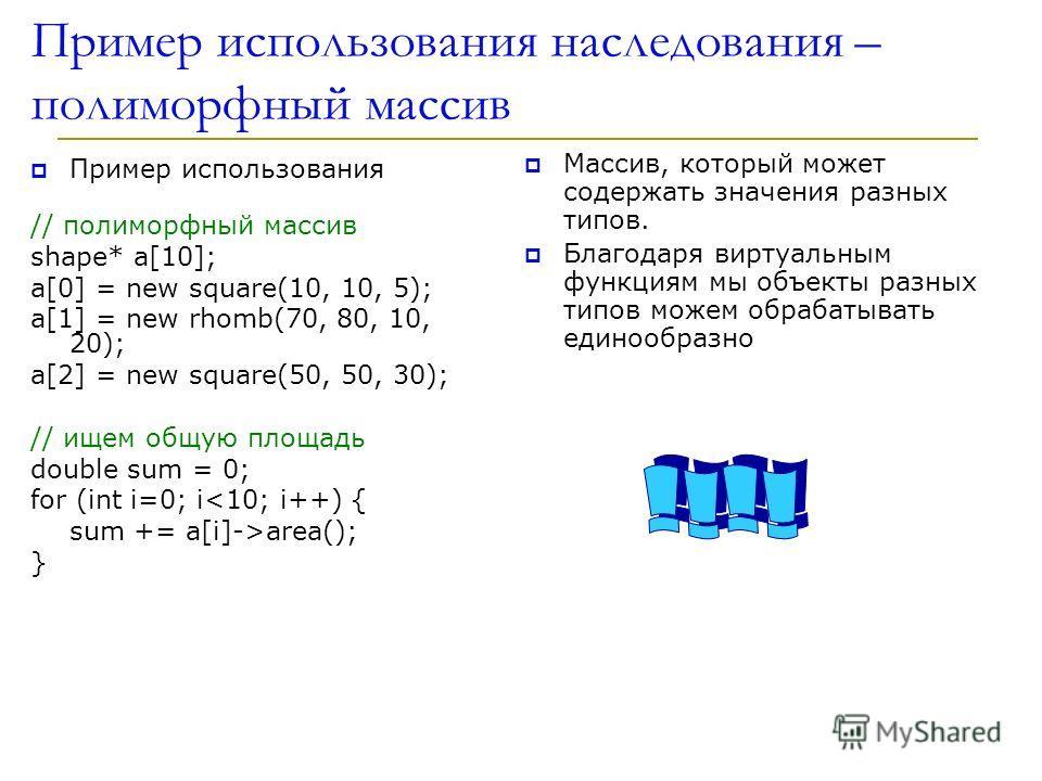 Пример использования наследования – полиморфный массив Пример использования // полиморфный массив shape* a[10]; a[0] = new square(10, 10, 5); a[1] = new rhomb(70, 80, 10, 20); a[2] = new square(50, 50, 30); // ищем общую площадь double sum = 0; for (