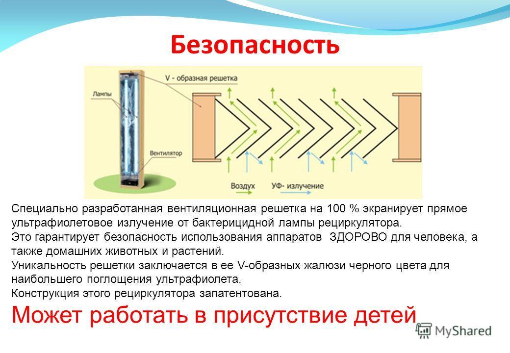 Безопасность Специально разработанная вентиляционная решетка на 100 % экранирует прямое ультрафиолетовое излучение от бактерицидной лампы рециркулятора. Это гарантирует безопасность использования аппаратов ЗДОРОВО для человека, а также домашних живот
