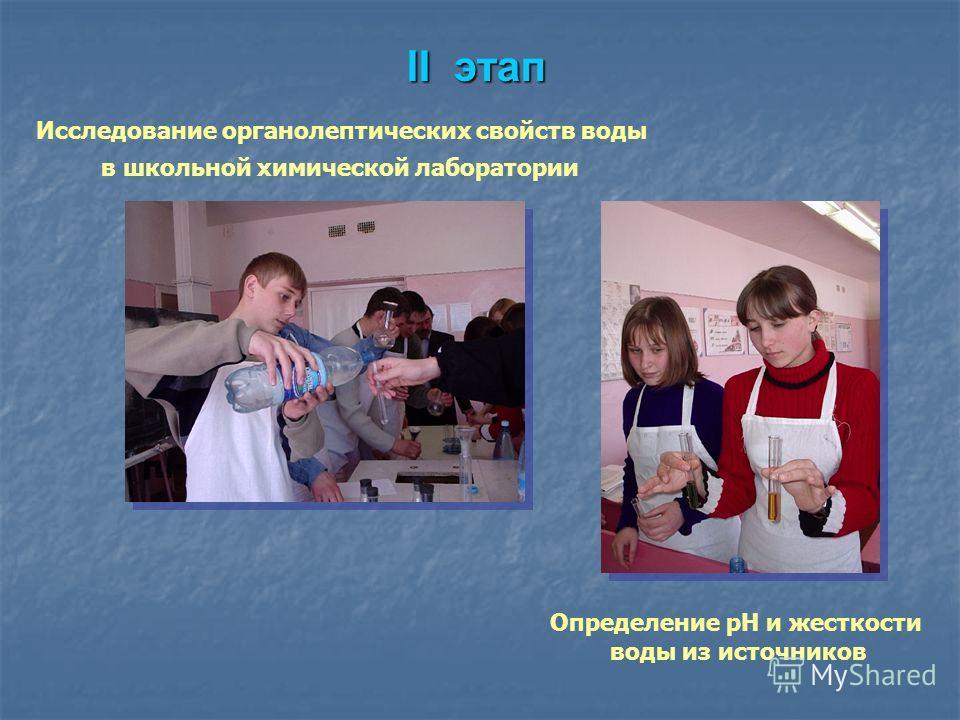 II этап Исследование органолептических свойств воды в школьной химической лаборатории Определение pH и жесткости воды из источников