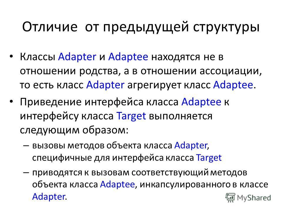 Отличие от предыдущей структуры Классы Adapter и Adaptee находятся не в отношении родства, а в отношении ассоциации, то есть класс Adapter агрегирует класс Adaptee. Приведение интерфейса класса Adaptee к интерфейсу класса Target выполняется следующим