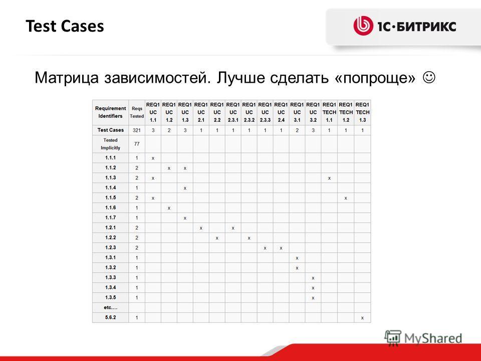 Test Cases Матрица зависимостей. Лучше сделать «попроще»