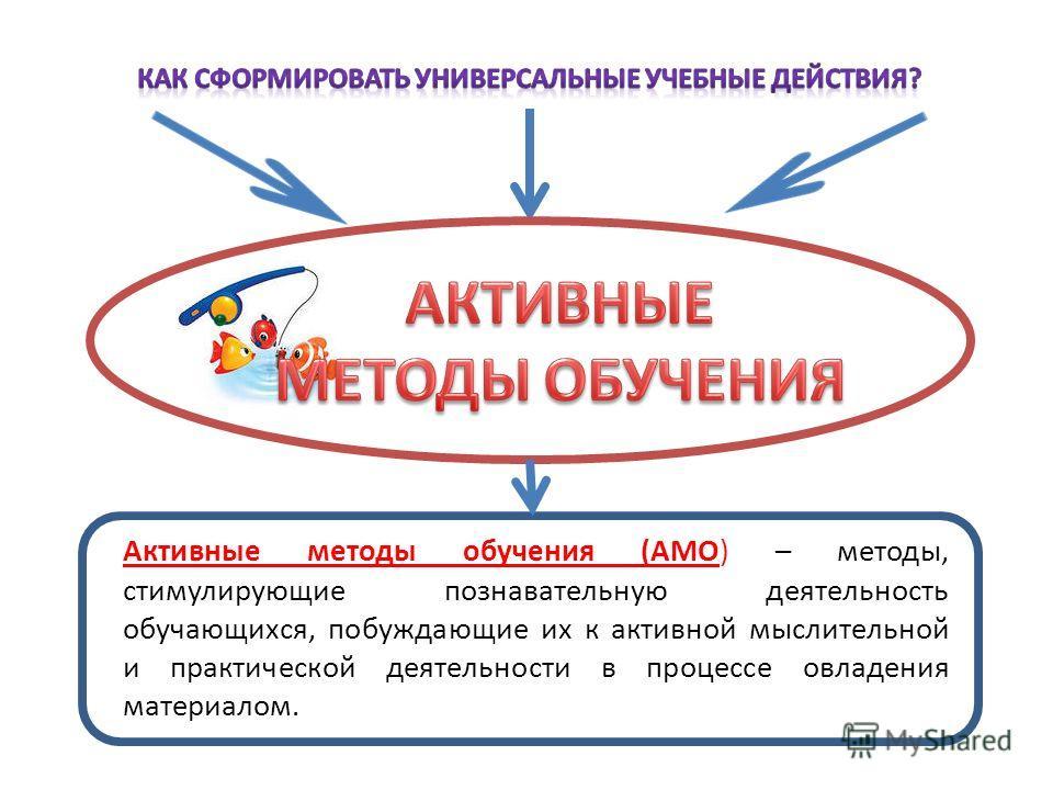 а Активные методы обучения (АМО) – методы, стимулирующие познавательную деятельность обучающихся, побуждающие их к активной мыслительной и практической деятельности в процессе овладения материалом.