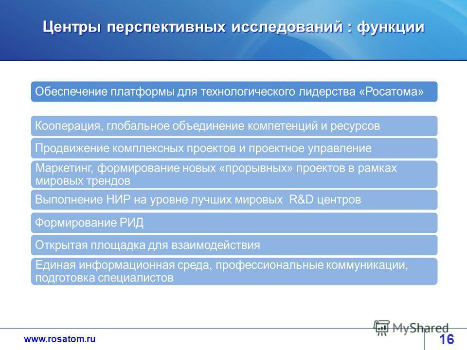 www.rosatom.ru Центры перспективных исследований : функции 16