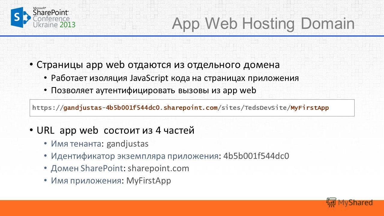 App Web Hosting Domain Страницы app web отдаются из отдельного домена Работает изоляция JavaScript кода на страницах приложения Позволяет аутентифицировать вызовы из app web URL app web состоит из 4 частей Имя тенанта: gandjustas Идентификатор экземп