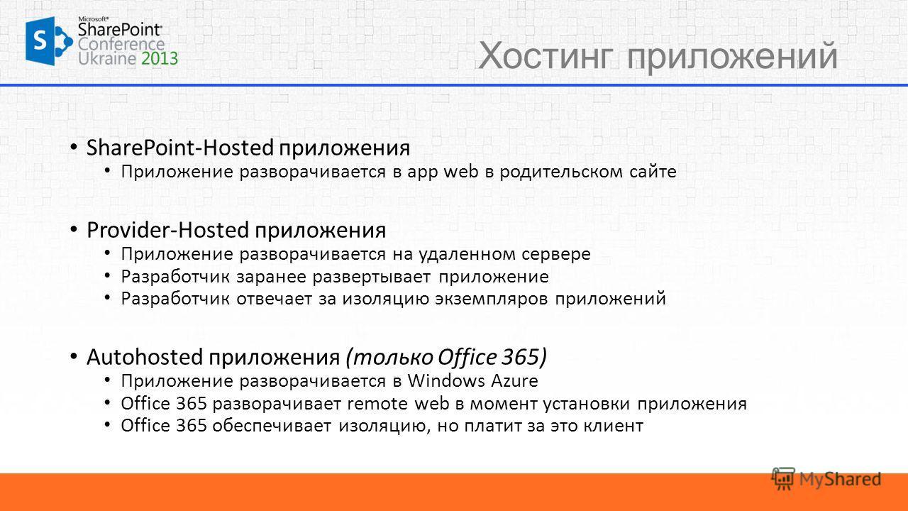 Хостинг приложений SharePoint-Hosted приложения Приложение разворачивается в app web в родительском сайте Provider-Hosted приложения Приложение разворачивается на удаленном сервере Разработчик заранее развертывает приложение Разработчик отвечает за и