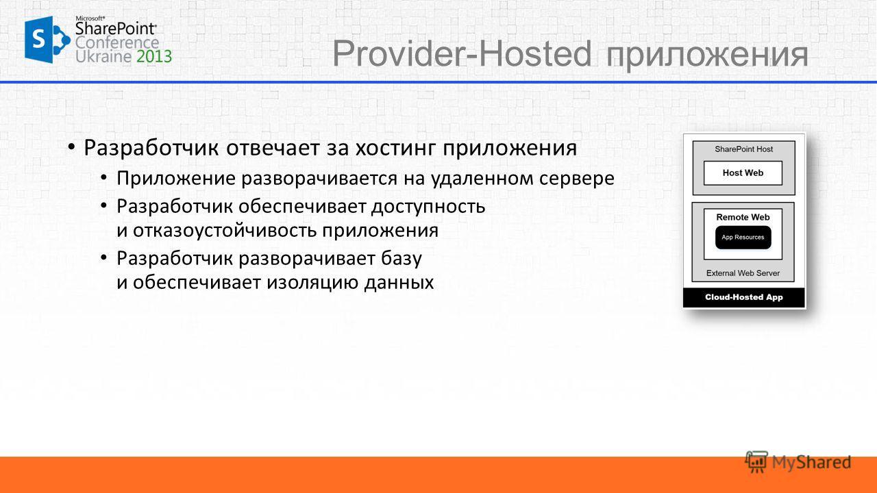 Provider-Hosted приложения Разработчик отвечает за хостинг приложения Приложение разворачивается на удаленном сервере Разработчик обеспечивает доступность и отказоустойчивость приложения Разработчик разворачивает базу и обеспечивает изоляцию данных