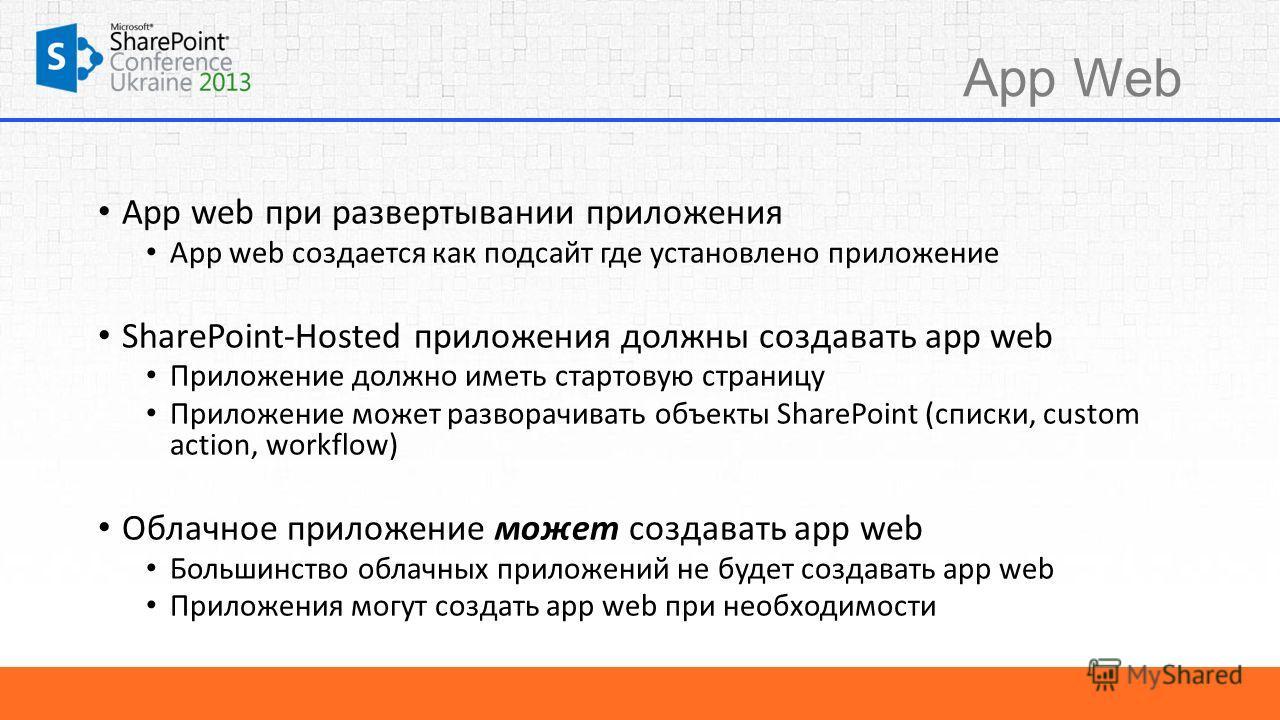 App Web App web при развертывании приложения App web создается как подсайт где установлено приложение SharePoint-Hosted приложения должны создавать app web Приложение должно иметь стартовую страницу Приложение может разворачивать объекты SharePoint (
