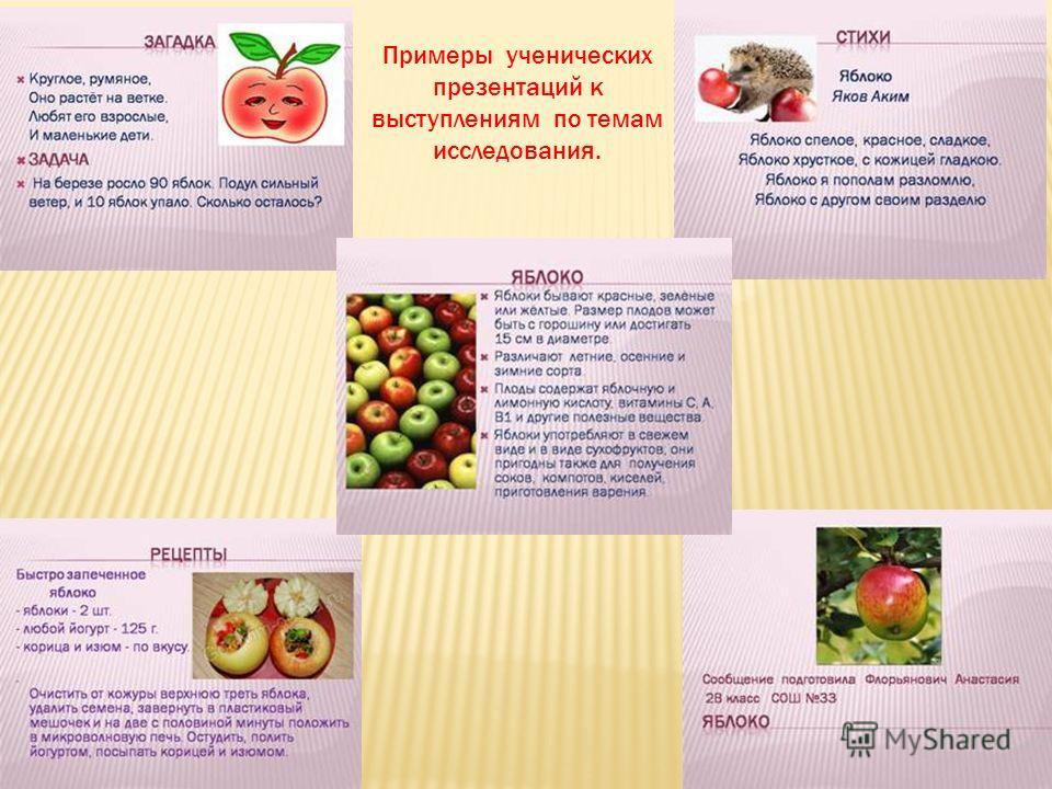Примеры ученических презентаций к выступлениям по темам исследования.