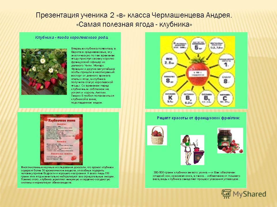 Презентация ученика 2 «в» класса Чермашенцева Андрея. «Самая полезная ягода - клубника»