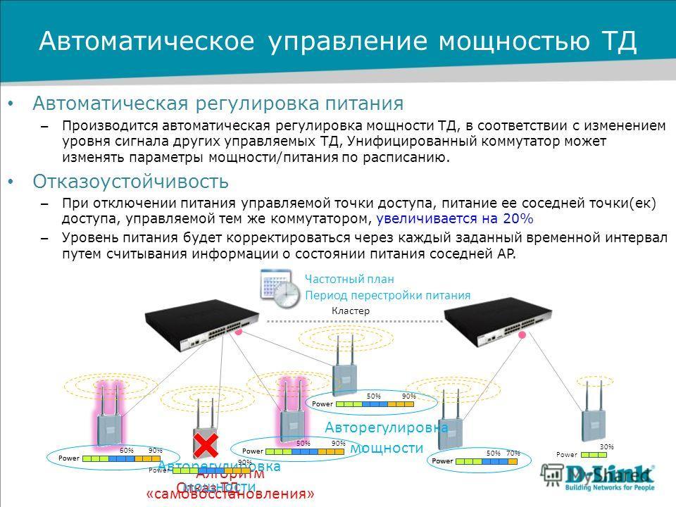 Автоматическое управление мощностью ТД Автоматическая регулировка питания – Производится автоматическая регулировка мощности ТД, в соответствии с изменением уровня сигнала других управляемых ТД, Унифицированный коммутатор может изменять параметры мощ