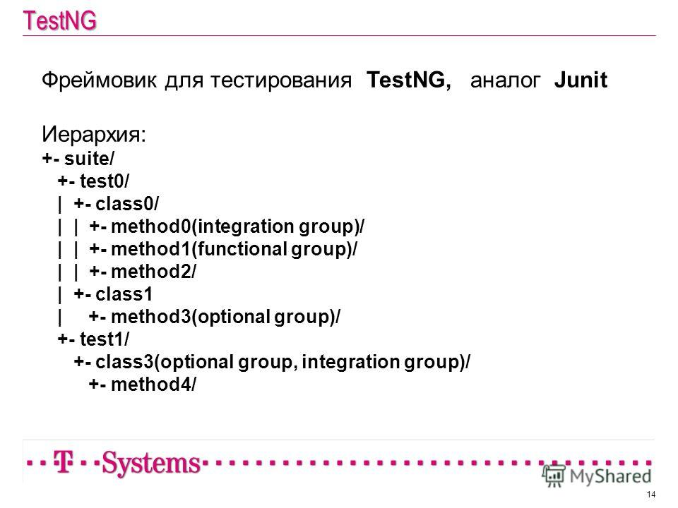TestNG 14 Фреймовик для тестирования TestNG, аналог Junit Иерархия: +- suite/ +- test0/ | +- class0/ | | +- method0(integration group)/ | | +- method1(functional group)/ | | +- method2/ | +- class1 | +- method3(optional group)/ +- test1/ +- class3(op