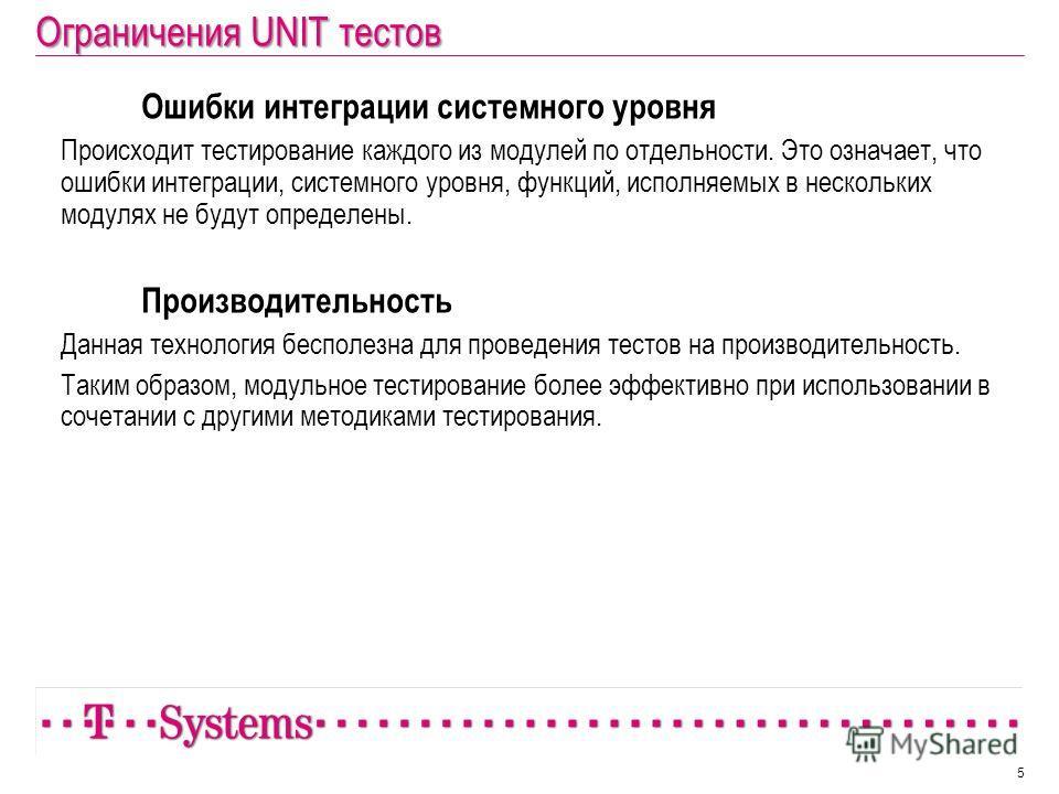Ограничения UNIT тестов Ошибки интеграции системного уровня Происходит тестирование каждого из модулей по отдельности. Это означает, что ошибки интеграции, системного уровня, функций, исполняемых в нескольких модулях не будут определены. Производител