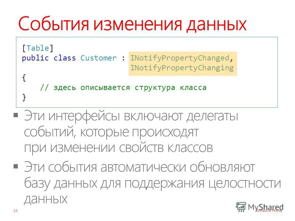 Windows Phone События изменения данных 33 [Table] public class Customer : INotifyPropertyChanged, INotifyPropertyChanging { // здесь описывается структура класса }