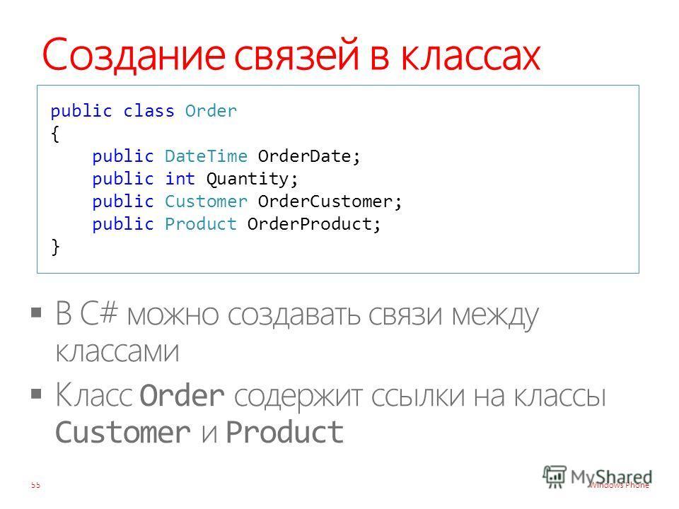 Windows Phone Создание связей в классах 55 public class Order { public DateTime OrderDate; public int Quantity; public Customer OrderCustomer; public Product OrderProduct; }