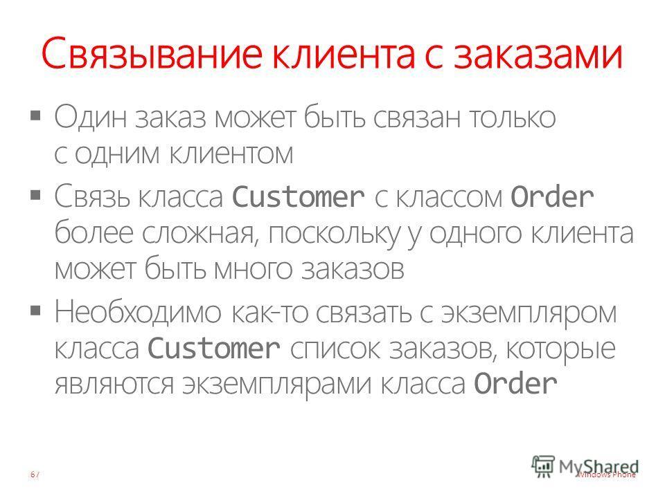 Windows Phone Связывание клиента с заказами 67