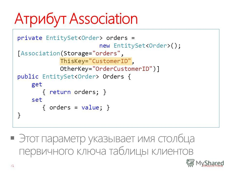 Windows Phone Атрибут Association 71 private EntitySet orders = new EntitySet (); [Association(Storage=orders, ThisKey=CustomerID, OtherKey=OrderCustomerID)] public EntitySet Orders { get { return orders; } set { orders = value; } }
