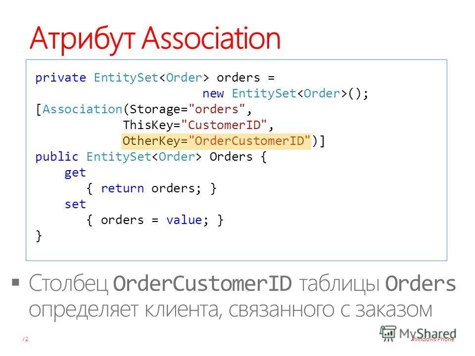 Windows Phone Атрибут Association 72 private EntitySet orders = new EntitySet (); [Association(Storage=orders, ThisKey=CustomerID, OtherKey=OrderCustomerID)] public EntitySet Orders { get { return orders; } set { orders = value; } }