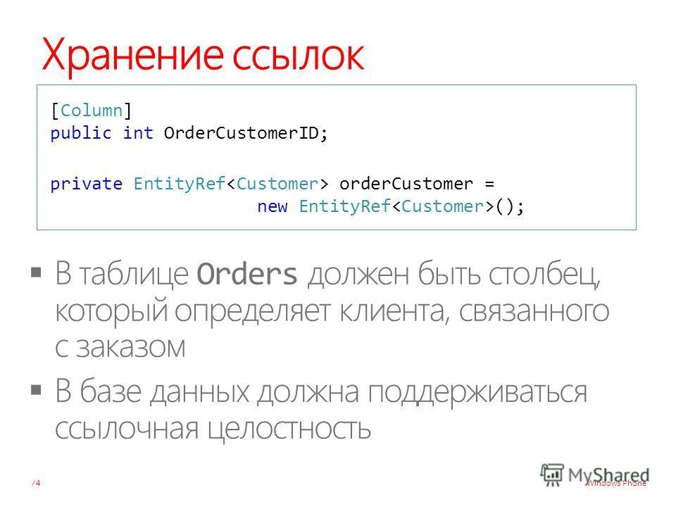Windows Phone Хранение ссылок 74 [Column] public int OrderCustomerID; private EntityRef orderCustomer = new EntityRef ();