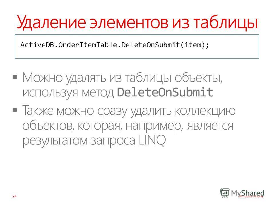 Windows Phone Удаление элементов из таблицы 94 ActiveDB.OrderItemTable.DeleteOnSubmit(item);